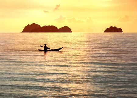 national boat in Thailand on the beach, sunset. Stock Photo