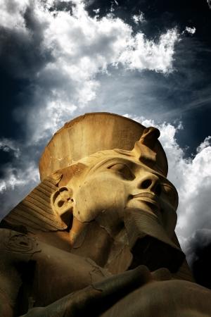 pharaoh: Ancient limestone statue of Pharaoh Ramses   Luxor