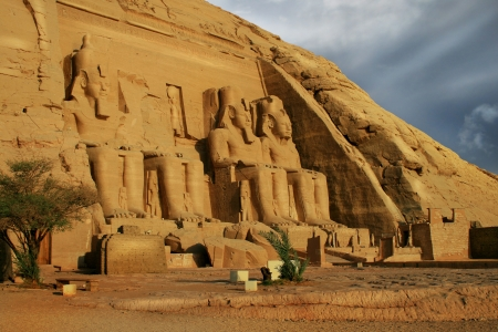 Front view of Temple of King Ramses II in Abu Simbel, Egypt Stock Photo