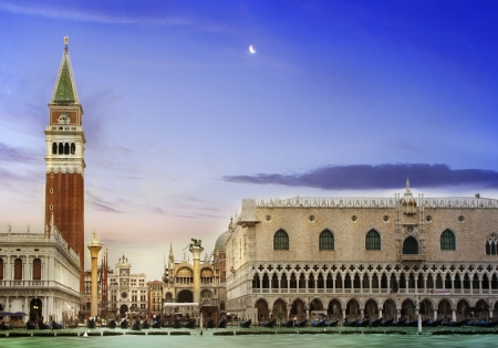 San Marco square in Venice, Italy early in the evening