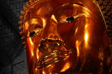 trone: Buddha inside Temple, bangkok, Thailand.  Stock Photo