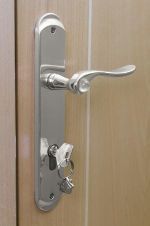 House keys in the door handle