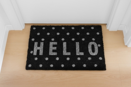 floor mat: Welcome home black mat  Hello