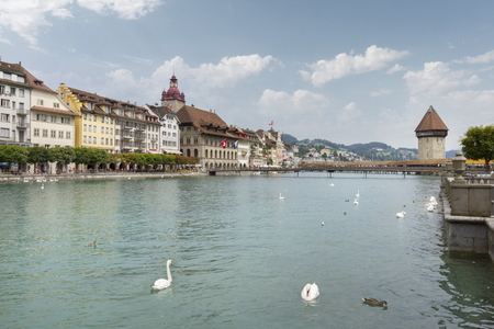 Lucerne, Switzerland, view on the old city from famous Chapel Bridge  photo