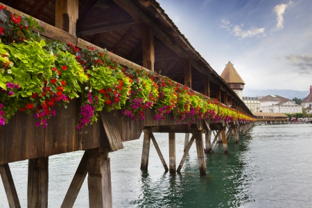 Lucerne, Switzerland, view on the old city from famous Chapel Bridge