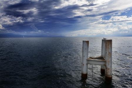 leman: Switzerland, Clouds over lake leman  Storm  Stock Photo