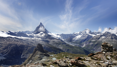Matterhorn is a mountain in the Pennine Alps on the border between Switzerland and Italy  photo