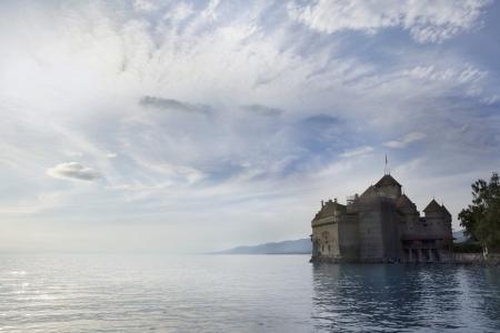 chillon: Chillon Castle  Is an island castle located on the shore of Lake Geneva  Editorial