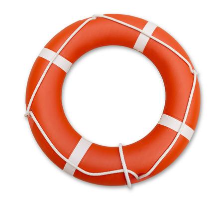 salvavidas: Salvavidas naranja, aislado en fondo blanco Foto de archivo