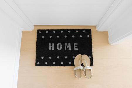 Welcome home black doormat with close door photo
