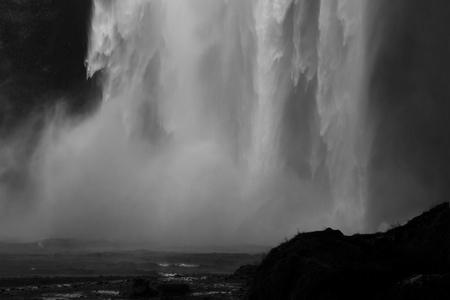 skogafoss waterfall: Closeup of Huge Skogafoss Waterfall. Iceland Stock Photo