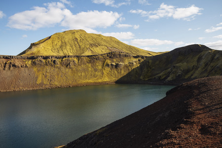 tiffany blue: Volcanic landscape with crater lake. Iceland Stock Photo