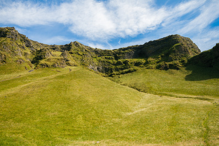 volcanism: Volcanic landscape covered with moss in Iceland Stock Photo