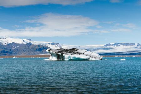 glacial: Blue icebergs floating in Jokulsarlon glacial lagoon, Iceland