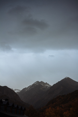 grey  sky: High mountain landscape with grey sky Stock Photo