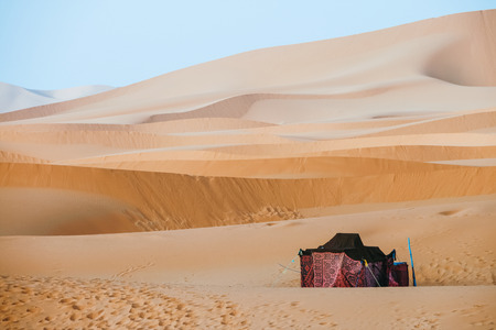 nomad: Morocco desert with tent Stock Photo