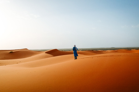 bedouin: Moroccan Bedouin in the desert Stock Photo