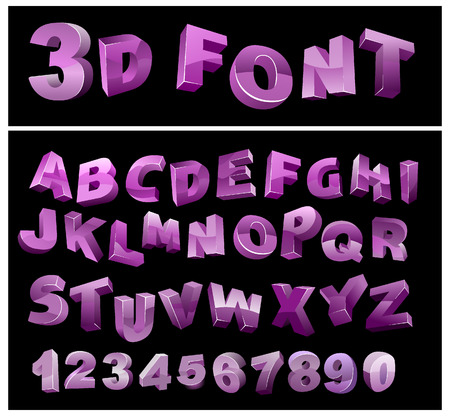 numerals: full 3d alphabet with numerals