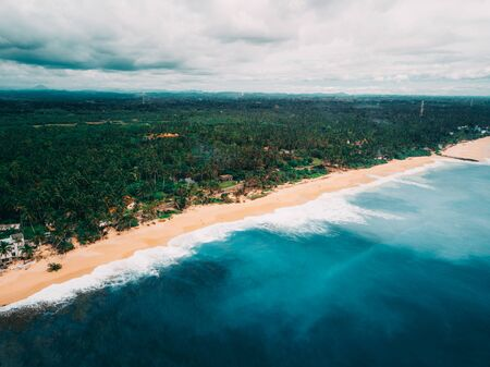 A beautiful deserted sandy beach with palm trees at the southern coastline of Sri Lanka, Tangalle region
