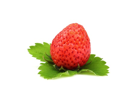 Strawberry and leaf on a white background Stock Photo