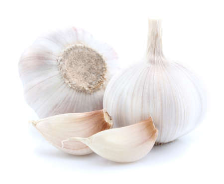 Garlic with slice in closeup