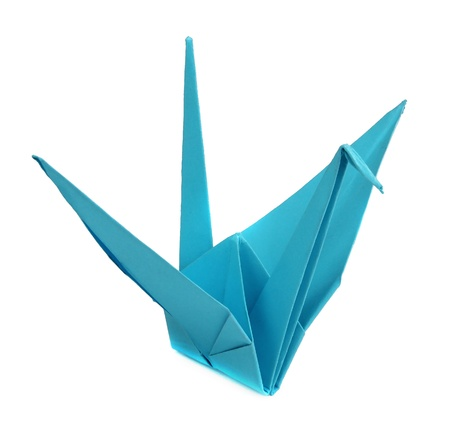 Blue origami bird on white background