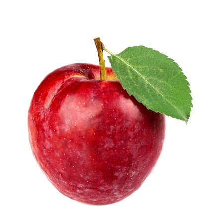 Red apple with leaf clouse-up jn a white background Stock Photo