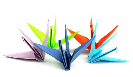five colorful origami birds on a white background