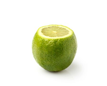 ripe lime isolated on white background