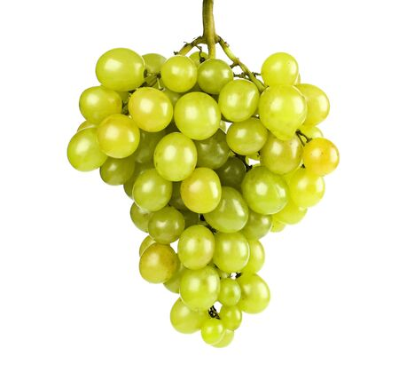 Ripe green grapes on a white background