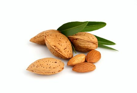 Group of almond nuts with leaves isolated on a white background Stock Photo - 17750761