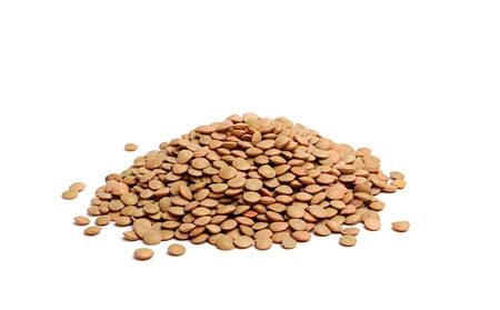 a handful of lentils isolated on white background Stock Photo - 17909388