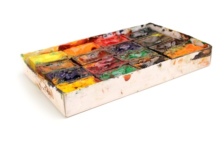 Watercolor paint in a box isolated on white background Stock Photo - 17909396