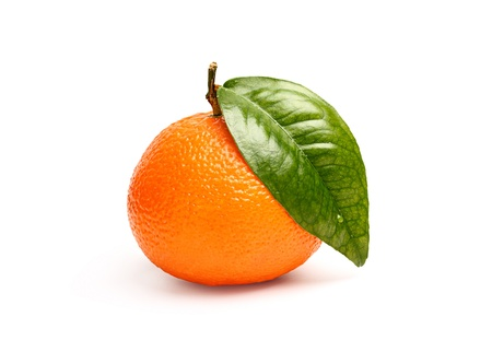 Ripe tangerine with green leaf isolated on white background Stock Photo - 18036725