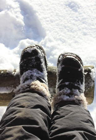 smutty: Feet in boots in the snow