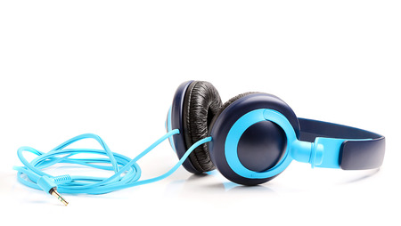 Blue headphones for music isolated on white background.