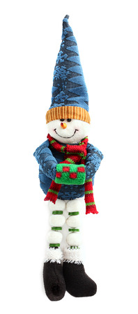 Soft toy snowman isolated on a white background. photo
