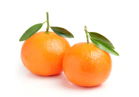 isoleted: Two ripe tangerine isoleted on white background.