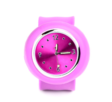 Pink wristwatch closeup isolated on white background. Stock Photo