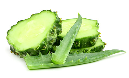 Cucumber with aloe on a white background. photo