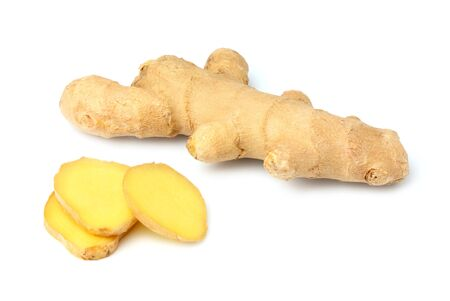 Fresh root ginger with sliced.Isolated on white background.