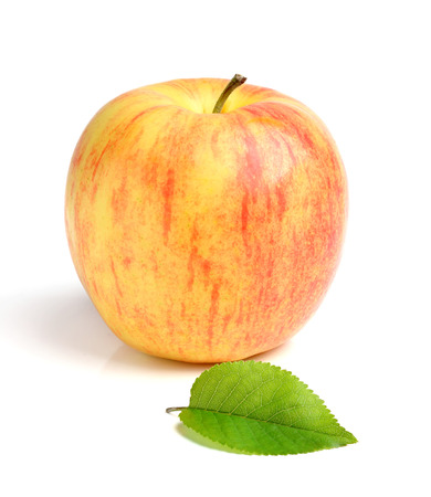 Apple with leaf isolated on white background. Stock Photo