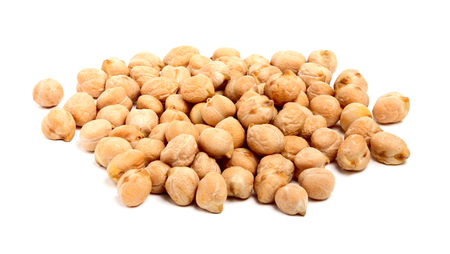 A handful of chickpeas isolated on a white background.