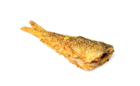 Fried fish vertically isolated on a white background.