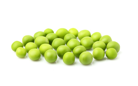 Green peas isolated on a white background. Stock Photo