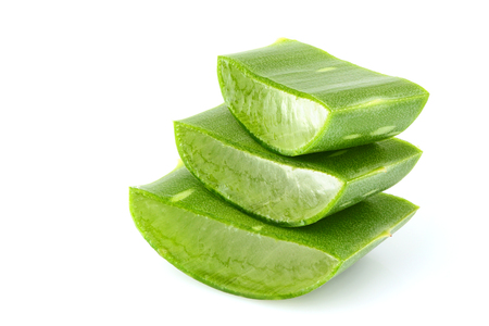 Chopped leaf aloe vera close-up isolated on a white background. Stock Photo