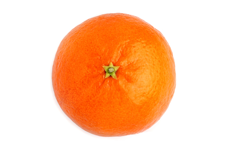 Tangerine isolated closeup on white background.The view from the top.