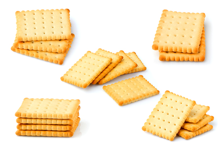 Crackers.Cookies isolated on white background.Collage.