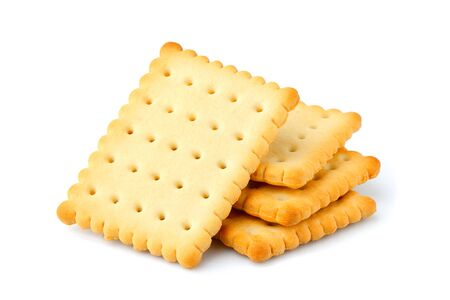 Crackers; biscuit isolated close up on white background. Stock Photo
