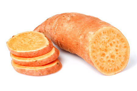 Vegetable sweet potato closeup isolated on a white background.